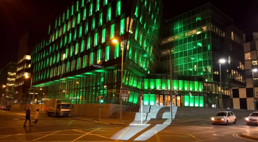 Building Lighting for St Patricks Day